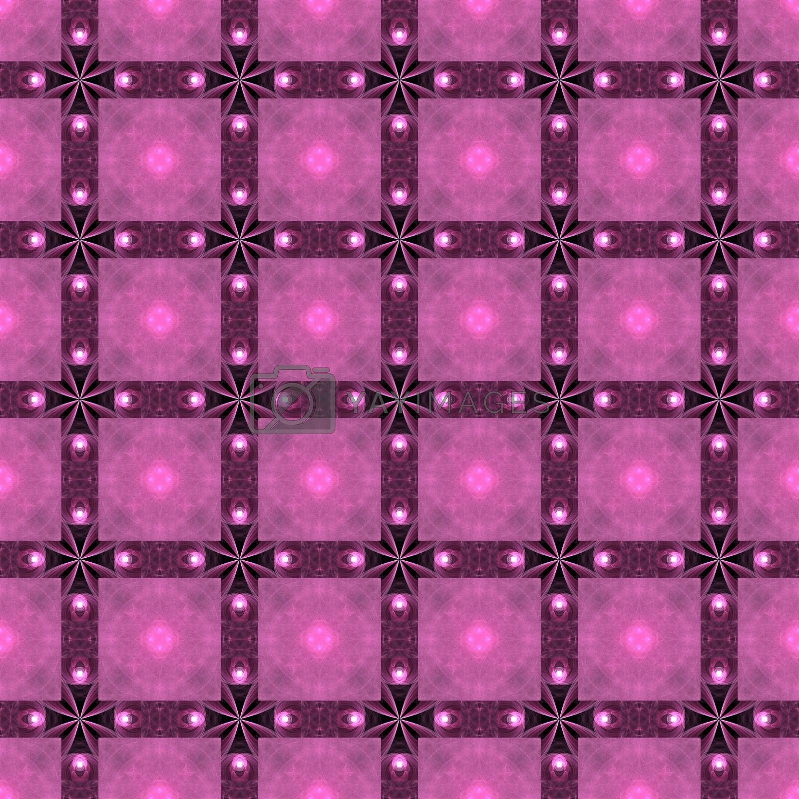 Drawing of Fractal seamless pattern in pink colors