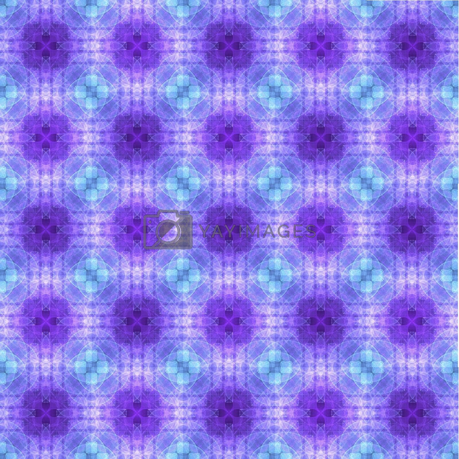 Drawing of Fractal seamless pattern in violet colors