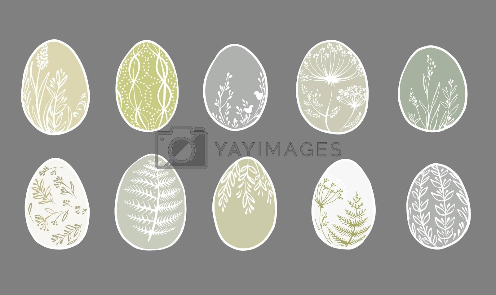 Set of cute decorated Easter eggs isolated on gray background. Collection of symbols of religious holiday covered with different floral patterns. Holiday flat illustration