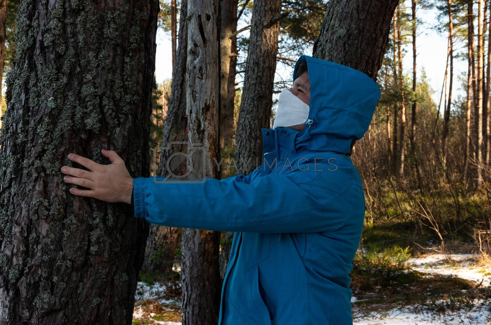 Virus, a man with a white face mask in a blue jacket, coronavirus, COVID-19
