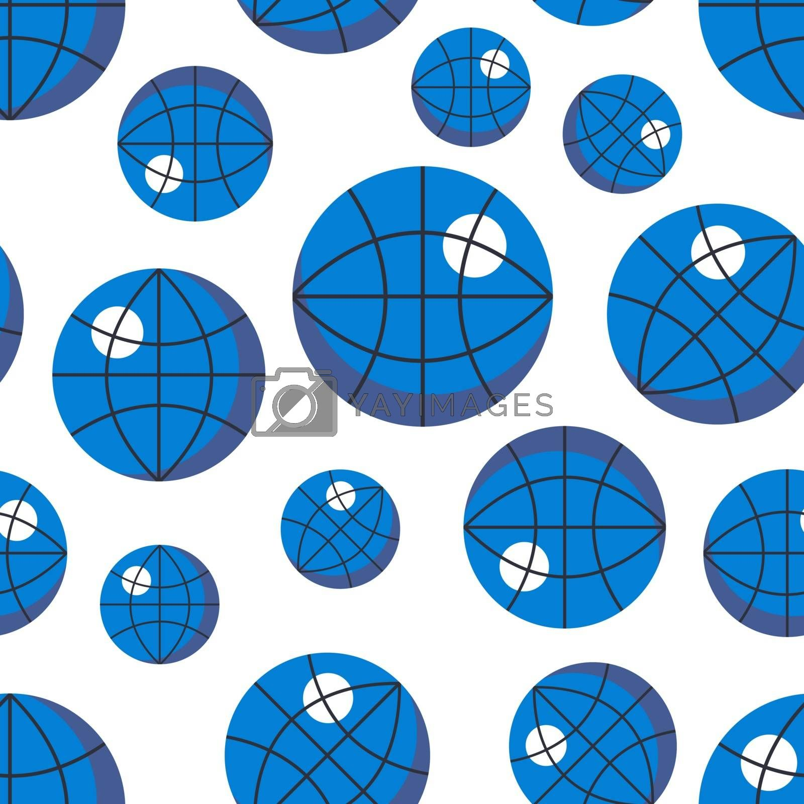 Seamless pattern with icons of globe for online education design. by kantrika