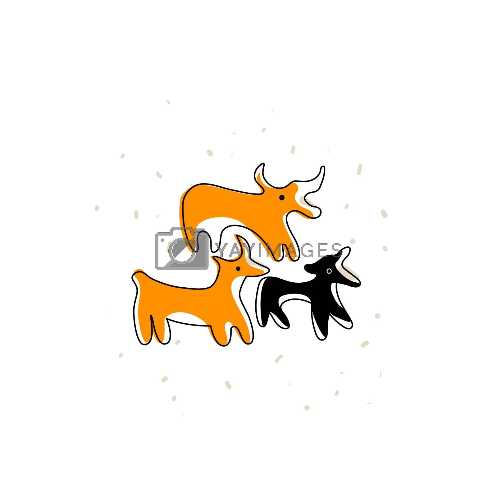 Ancient Greek pottery animals. Line icon of bulls. by kantrika