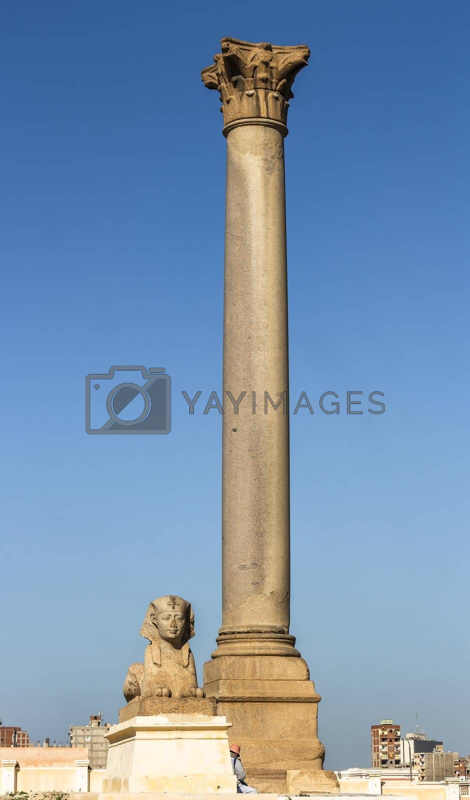 Pompey's Pillar, one of the largest monoliths Corinthian column and sphinxes stands at the eastern side of the temenos of the Serapeum of Alexandria