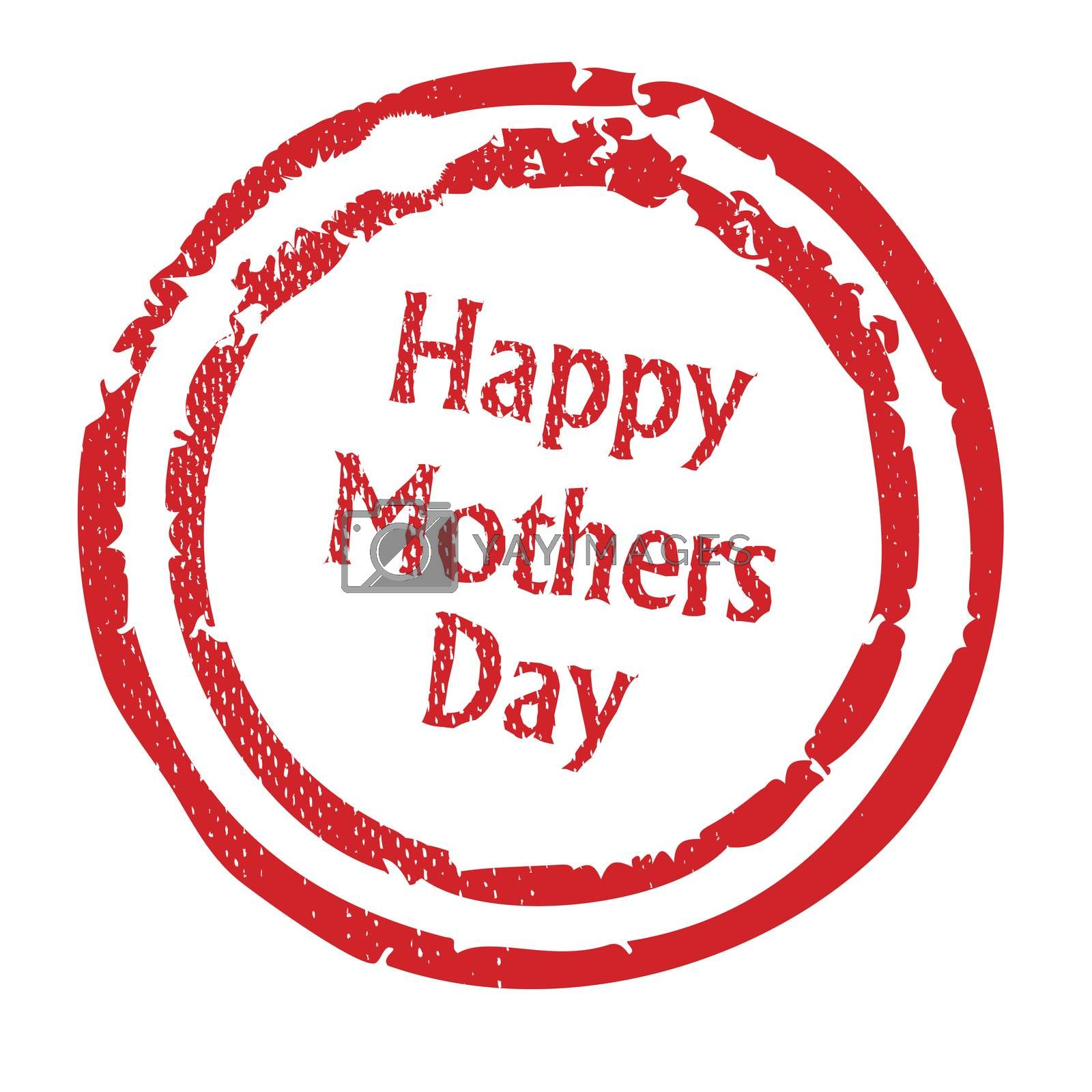 A happy mothers day rubber stamp isolated on a white background