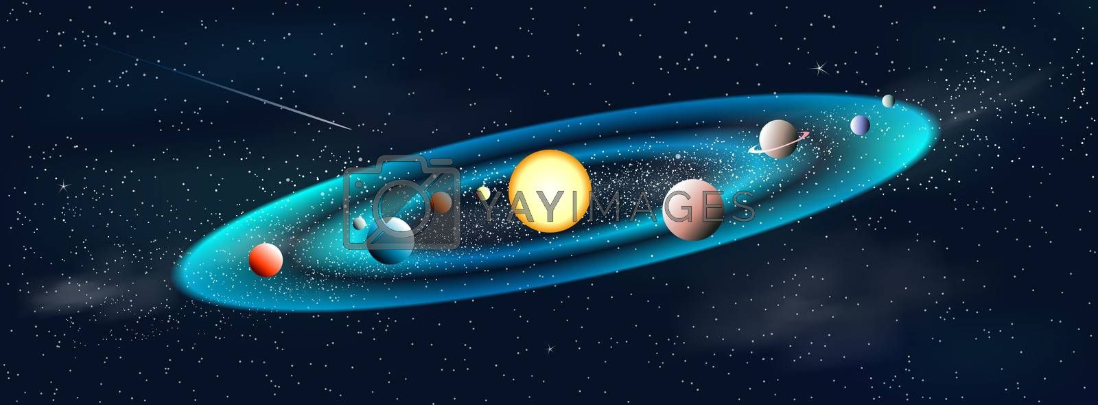 Shining sun and planets. Solar system. Galaxy. The night starry sky. Space background.