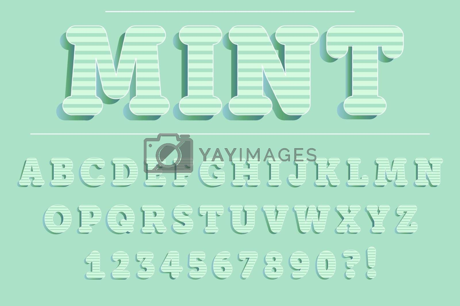 Royalty free image of Modern 3D mint Alphabet Letters, Numbers and Symbols. Fresh Typ by balasoiu