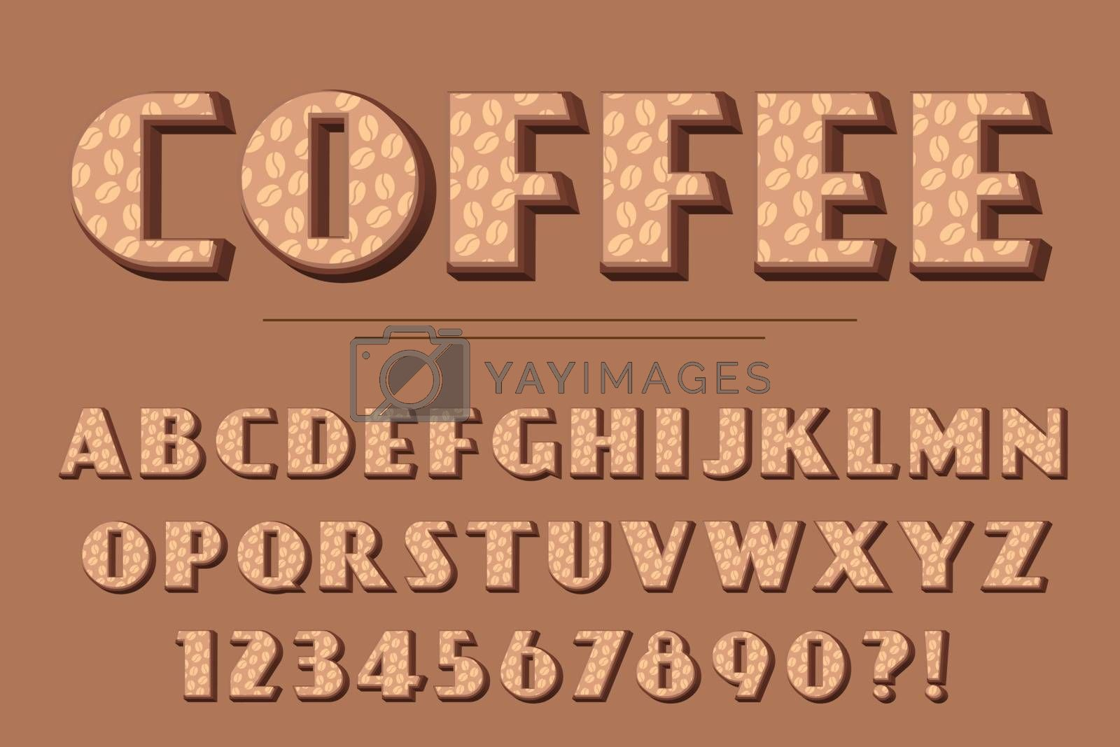 Modern 3D coffee Alphabet Letters, Numbers and Symbols. Delicious Typography . Vector