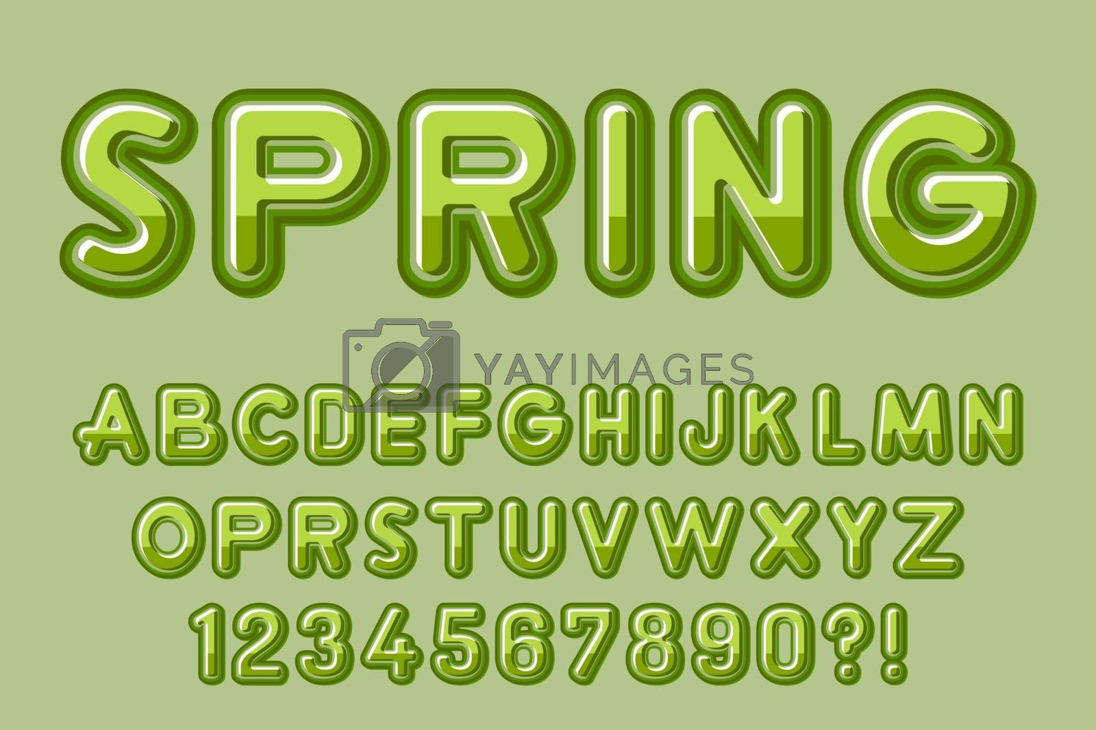 Modern 3D green Alphabet Letters, Numbers and Symbols. Fresh Typography . Vector