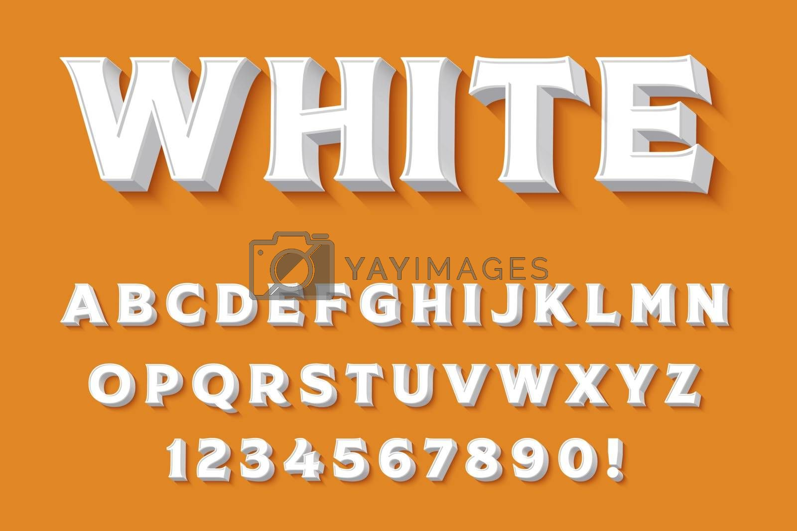 Royalty free image of Modern 3D white Alphabet Letters, Numbers and Symbols. Clean Ty by balasoiu