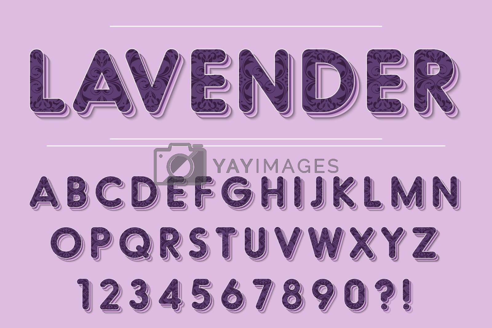 Modern 3D lavender Alphabet Letters, Numbers and Symbols. Purple Typography . Vector