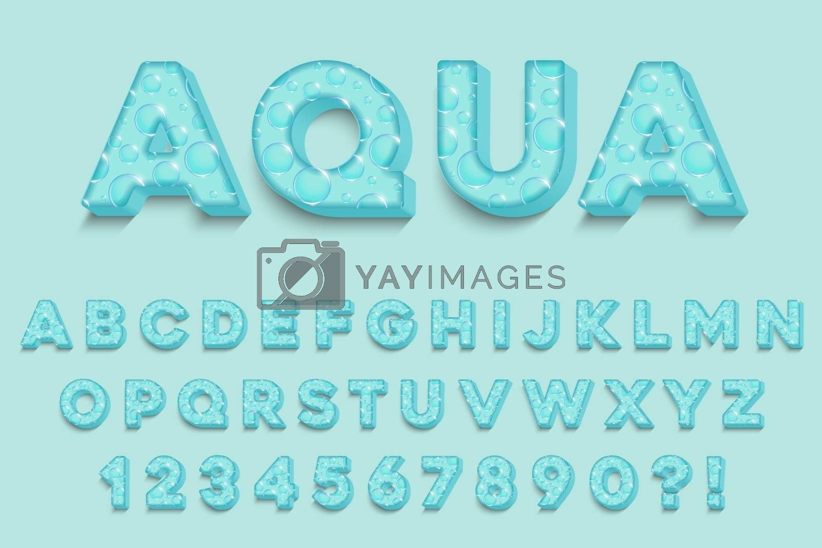 Modern 3D aqua Alphabet Letters, Numbers and Symbols. Fresh Typography . Vector