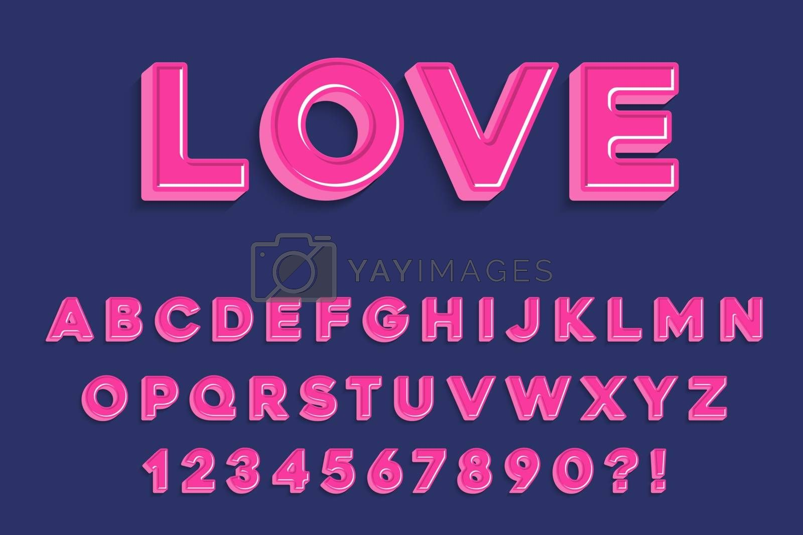 Royalty free image of Modern 3D madness pink Alphabet Letters, Numbers and Symbols. S by balasoiu