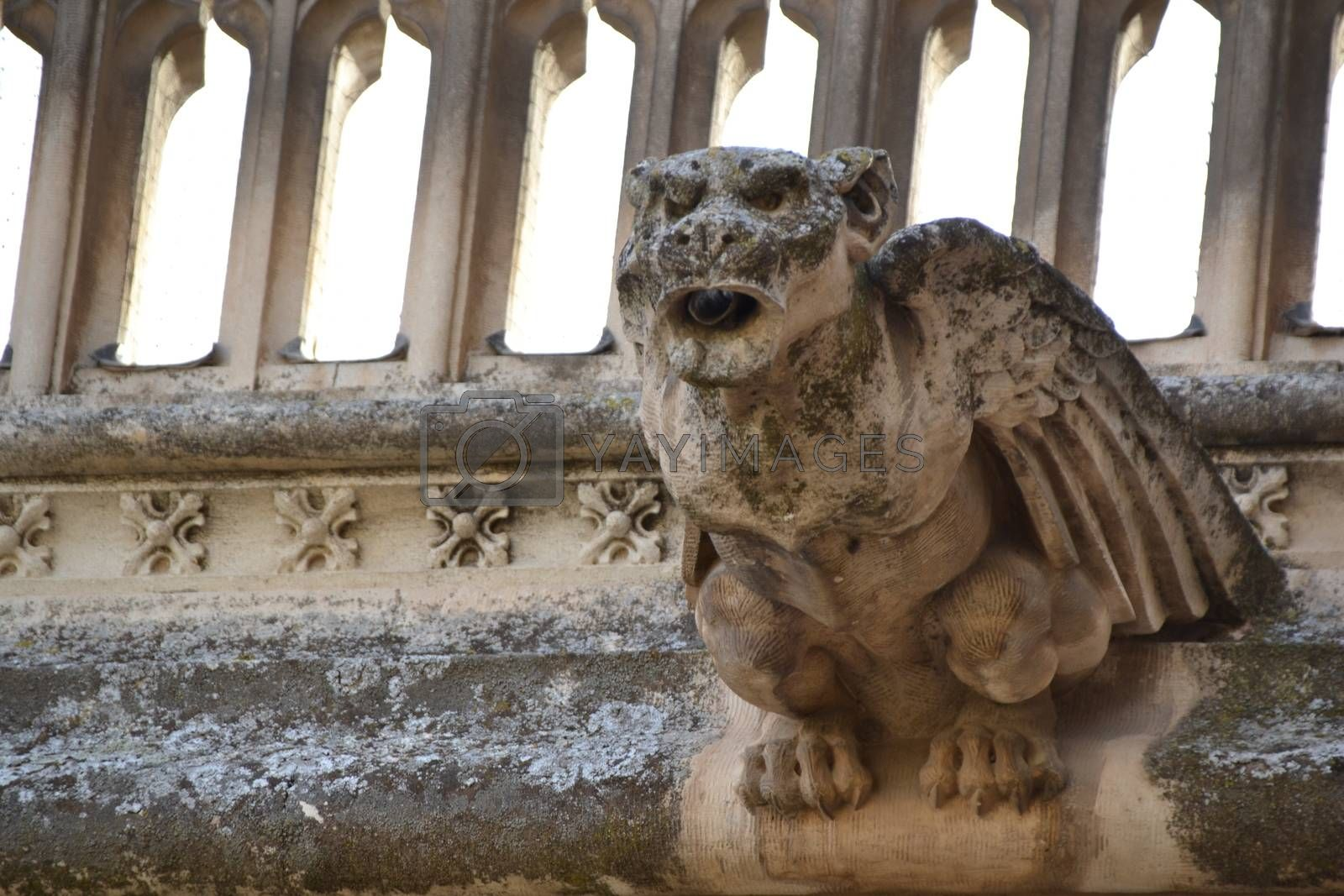 Gargoyle shaped like a monster made of stone