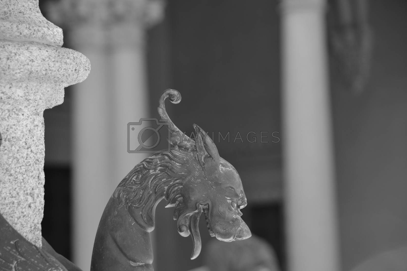 Dragon head in black and white