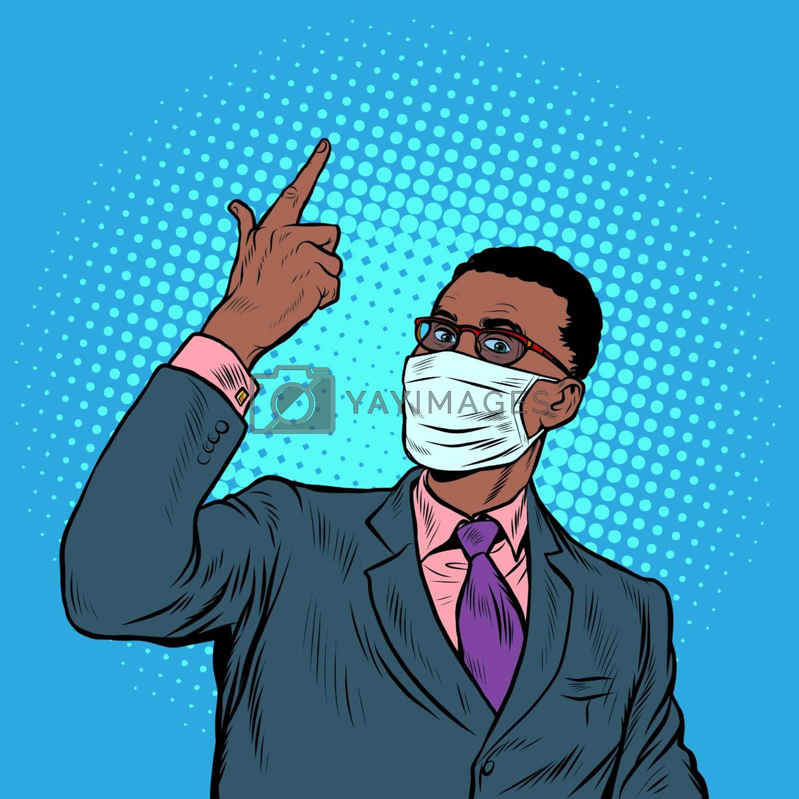 African businessman in a medical mask. Coronavirus epidemic. Self isolation and quarantine. Pop art retro vector illustration vintage kitsch 50s 60s style