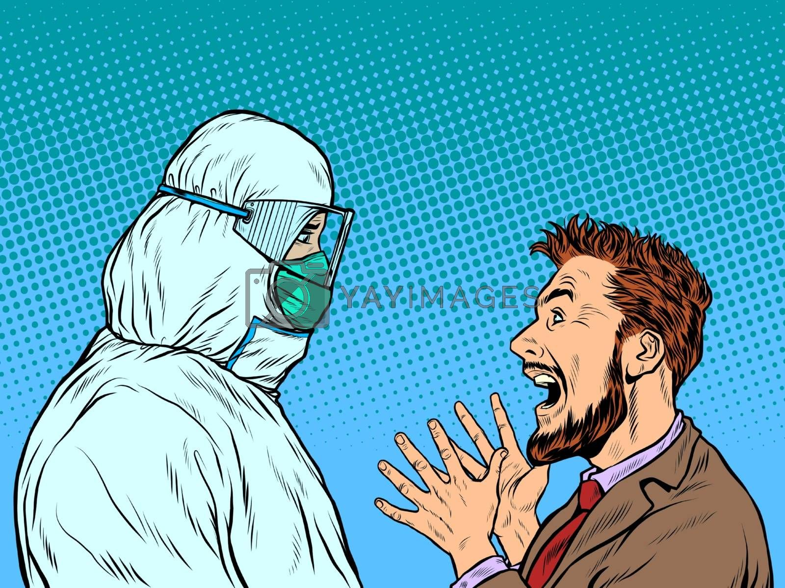 Doctor in protective suit and emotional patient man. Pop art retro vector illustration vintage kitsch 50s 60s style
