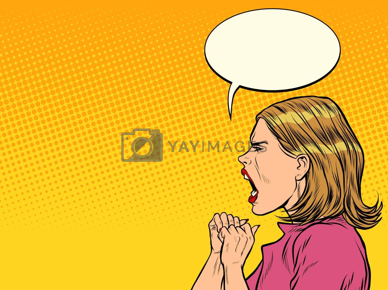 angry woman screaming. Pop art retro vector illustration vintage kitsch 50s 60s style