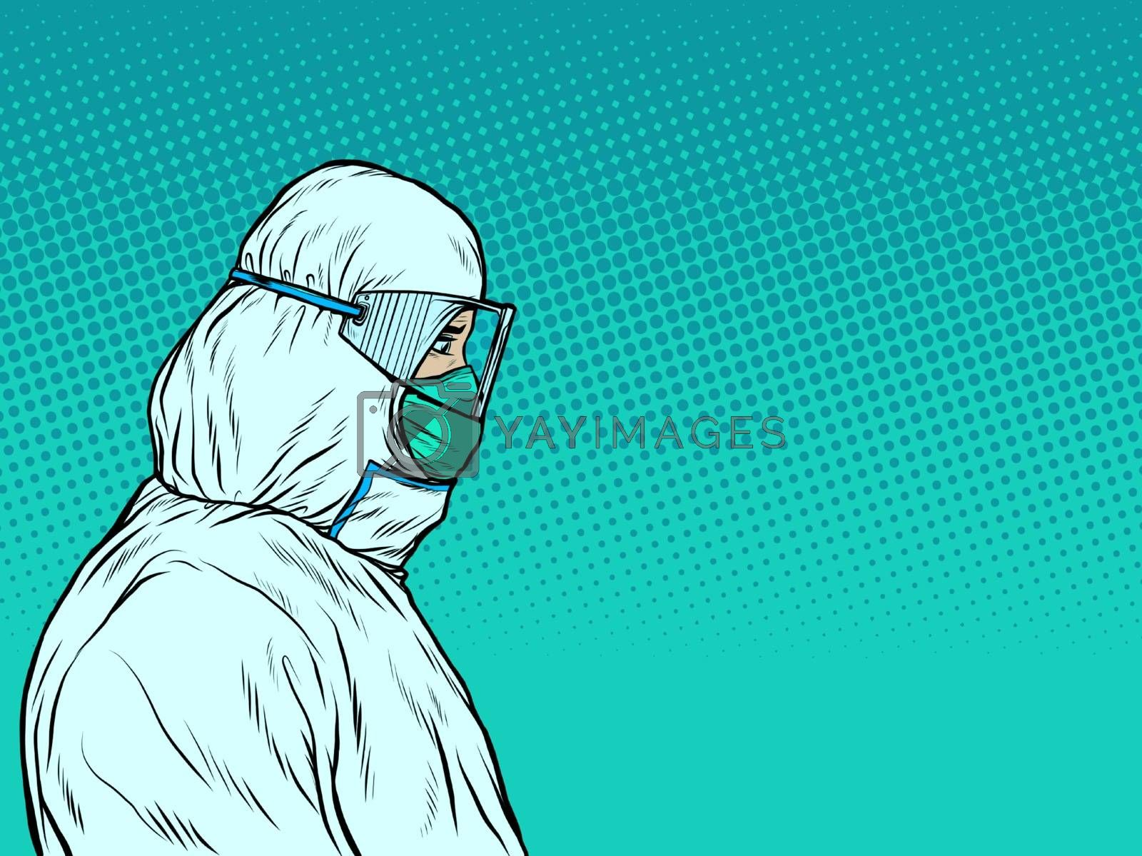 Doctors in a medical protective suit. The epidemic of the dangerous disease. Pop art retro vector illustration vintage kitsch 50s 60s style