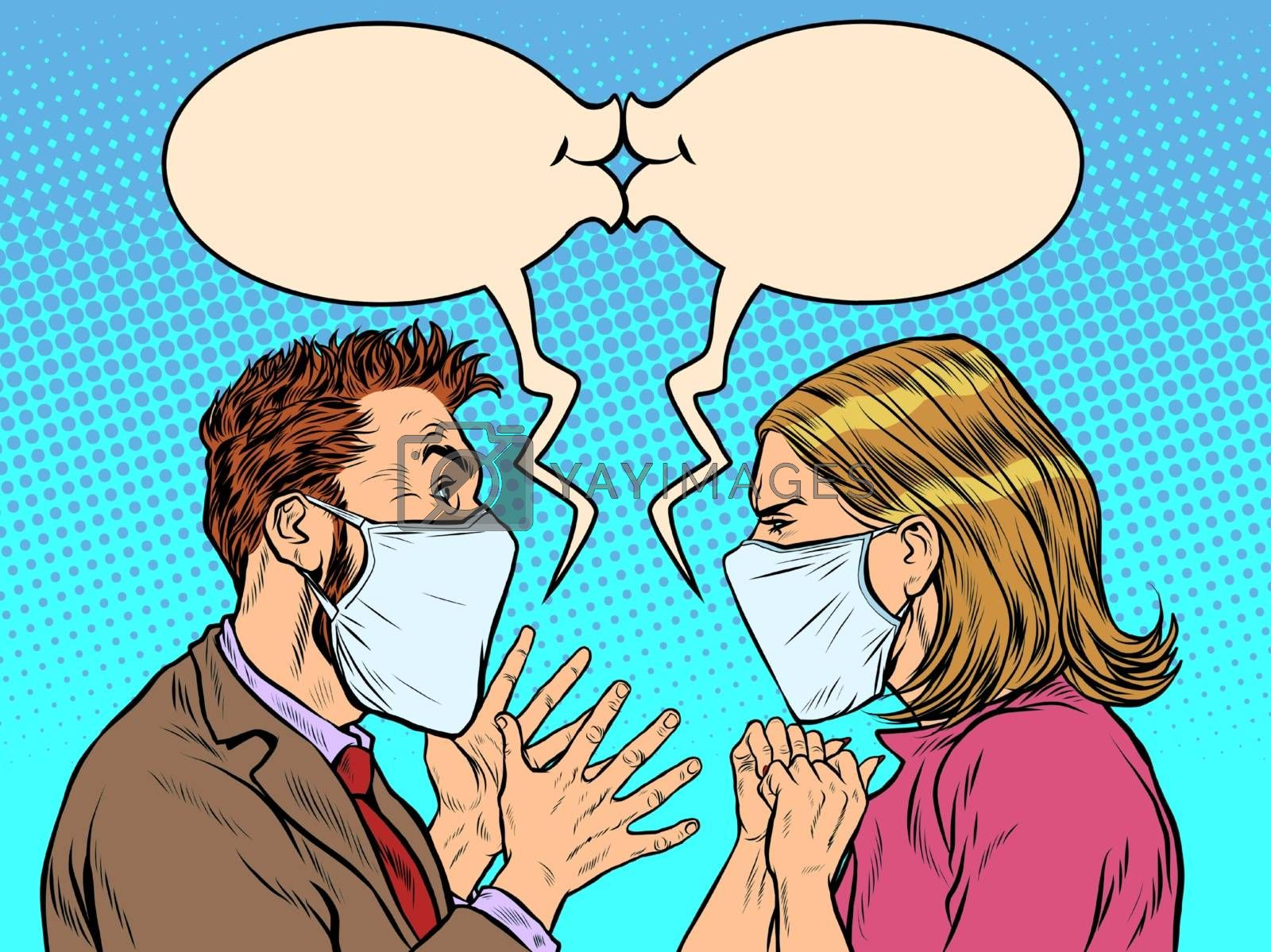 man and woman in medical masks kiss. Pop art retro vector illustration vintage kitsch 50s 60s style