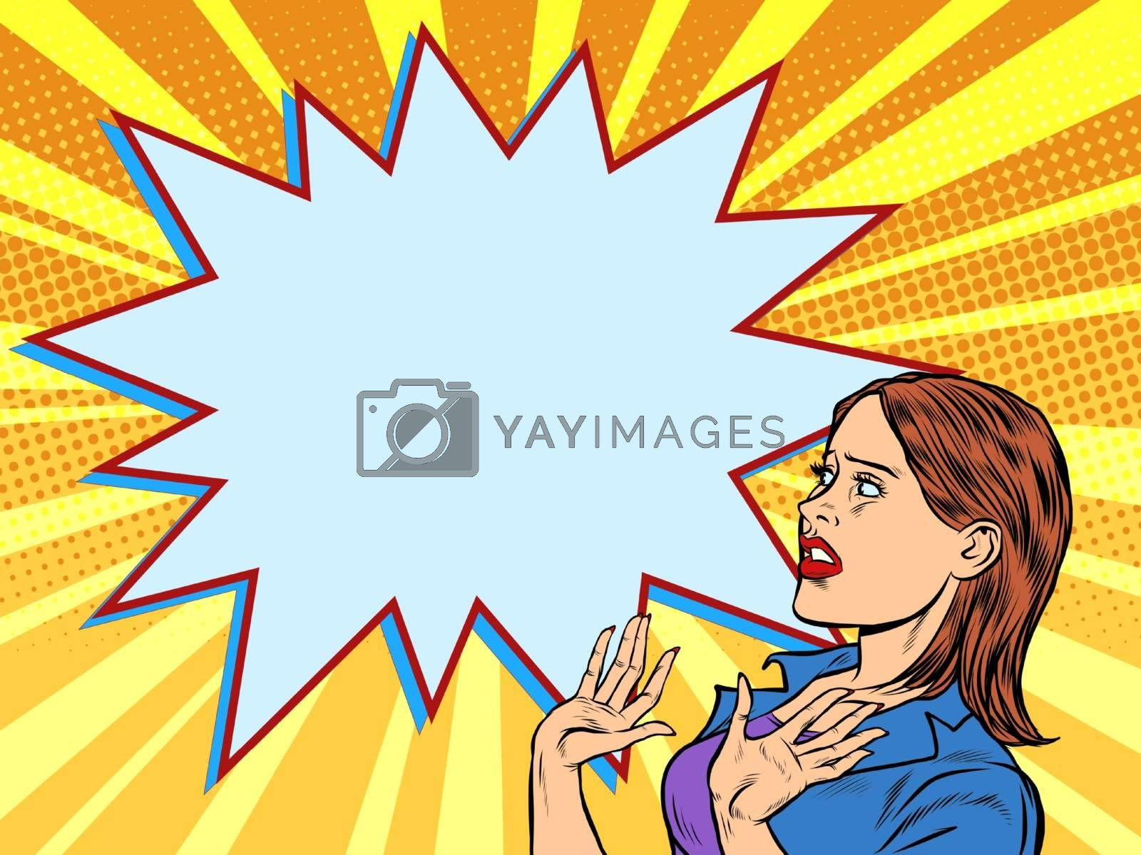 Woman scared emotions reaction. Pop art retro vector illustration vintage kitsch 50s 60s style