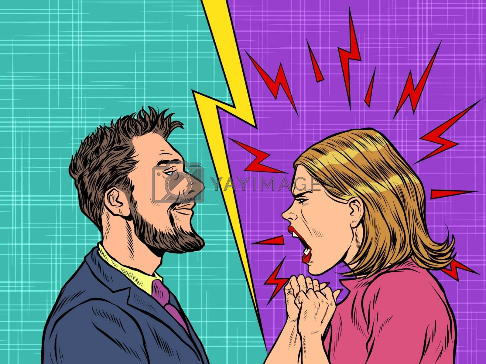 man and woman dispute emotions scream. Pop art retro vector illustration vintage kitsch 50s 60s style