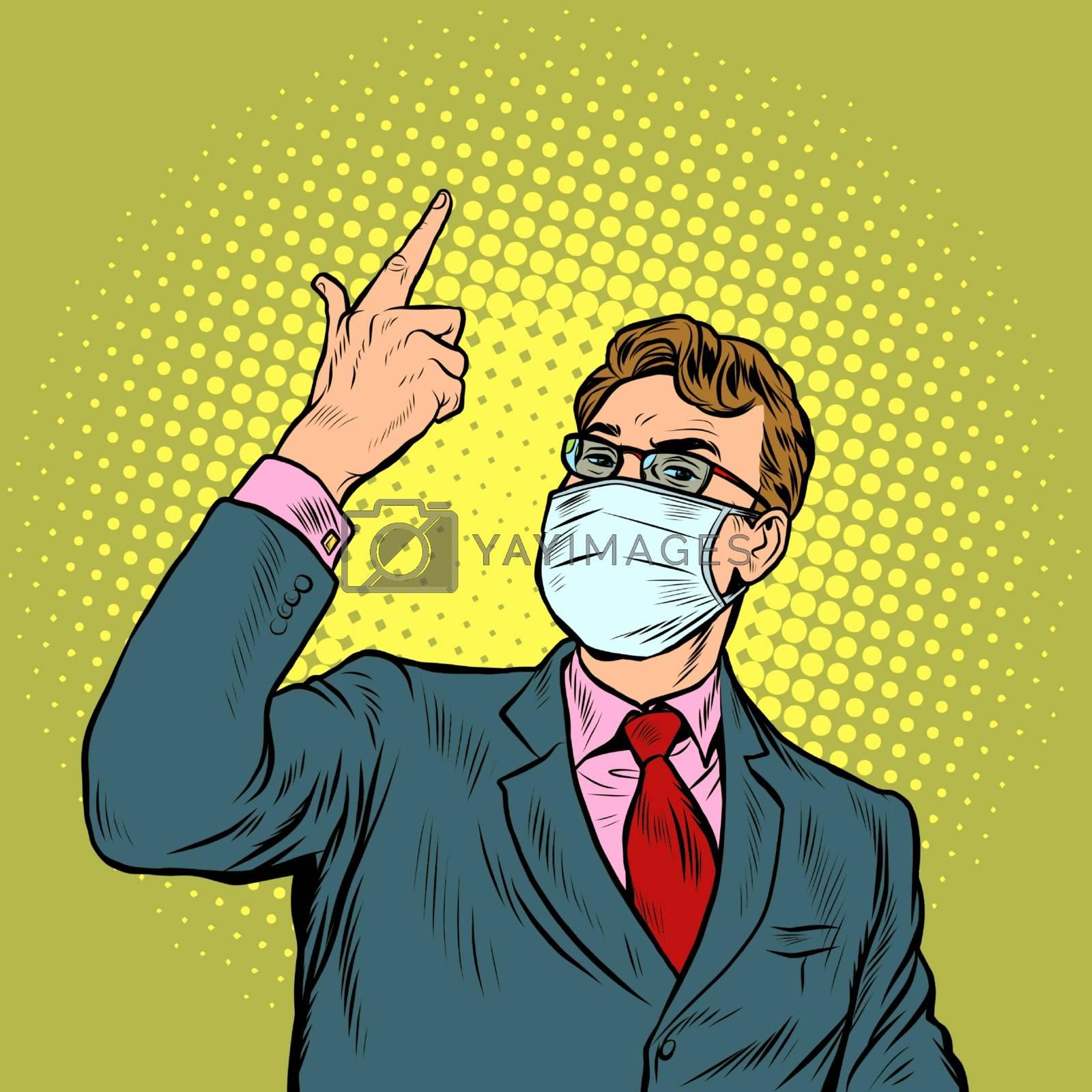 Businessman in a medical mask. The epidemic of coronavirus. Pop art retro vector illustration vintage kitsch 50s 60s style