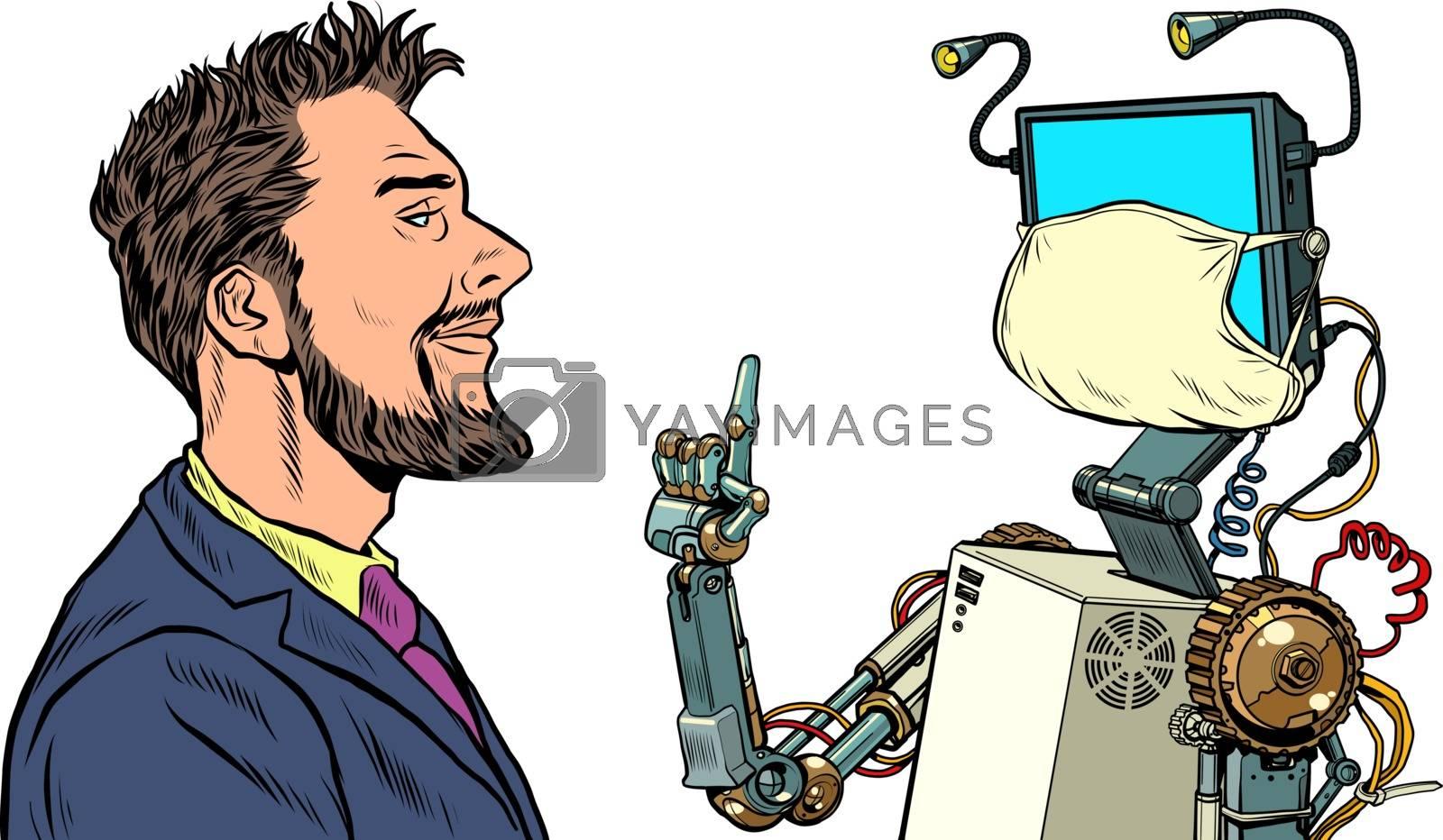 The robot teacher. Distance education during the epidemic. Pop art retro vector illustration vintage kitsch 50s 60s style