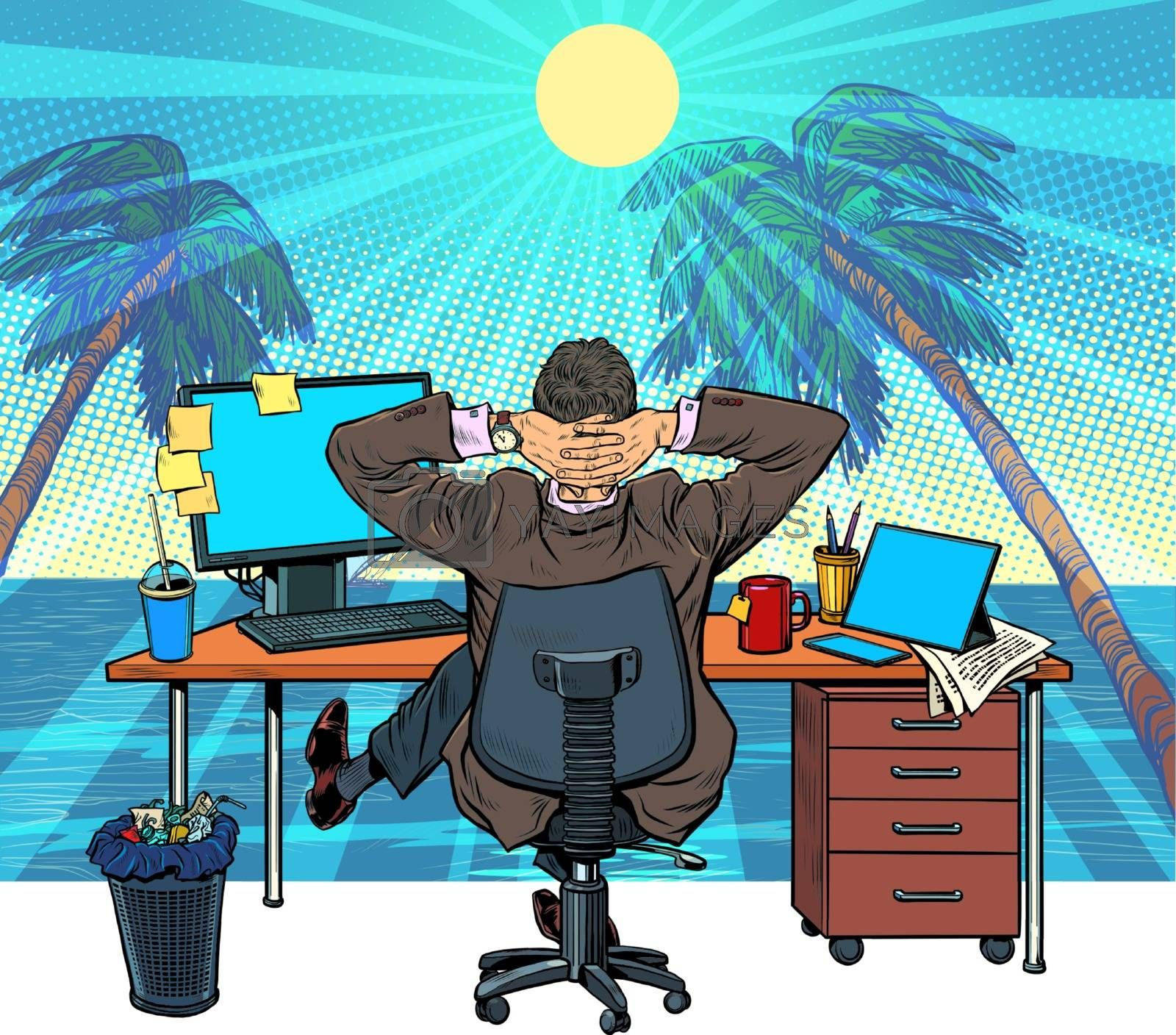 Royalty free image of quarantine remote work at home. dream of vacation and travel by studiostoks