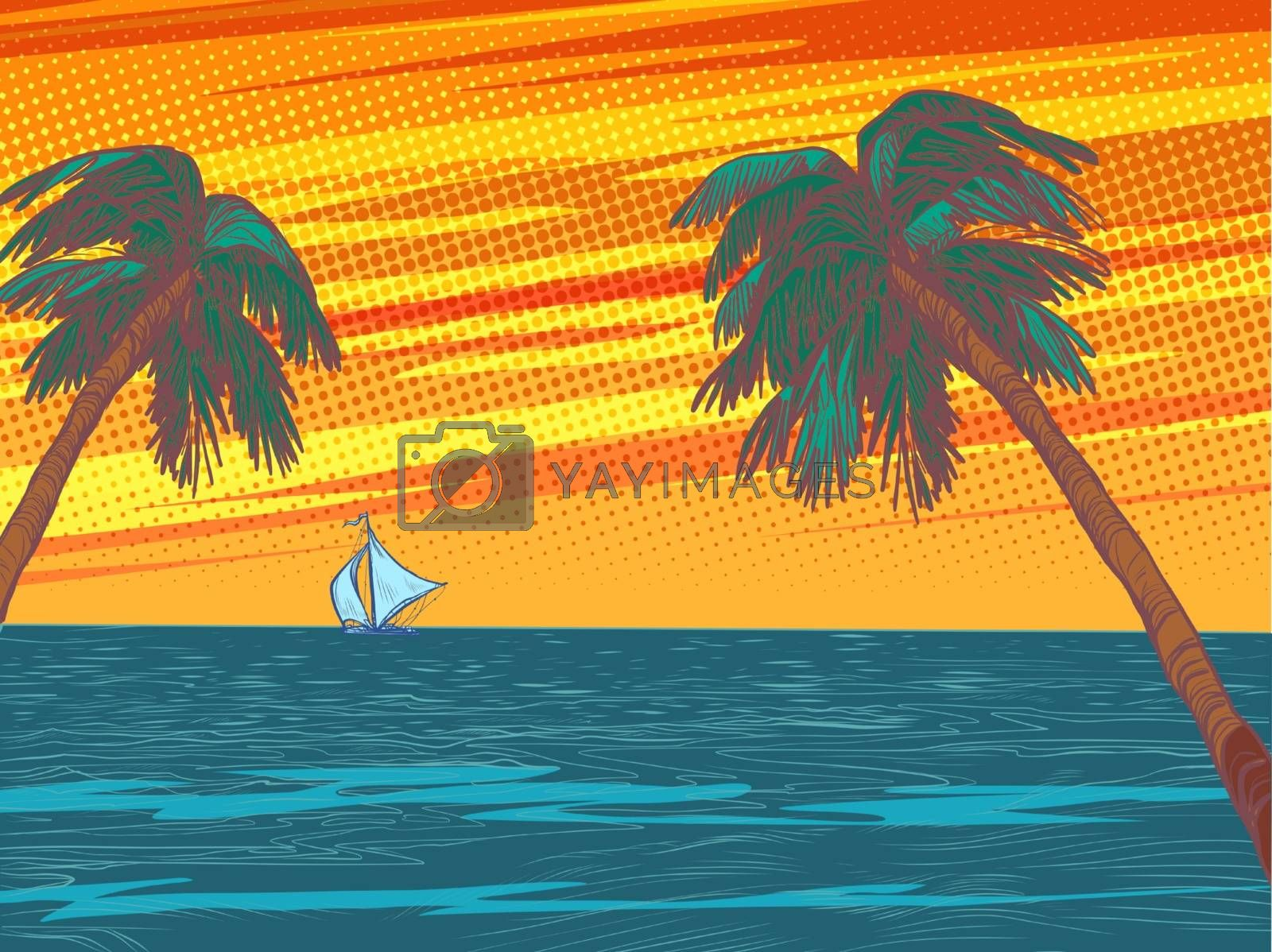sunset beach resort palm trees sea. Pop art retro vector illustration vintage kitsch 50s 60s style