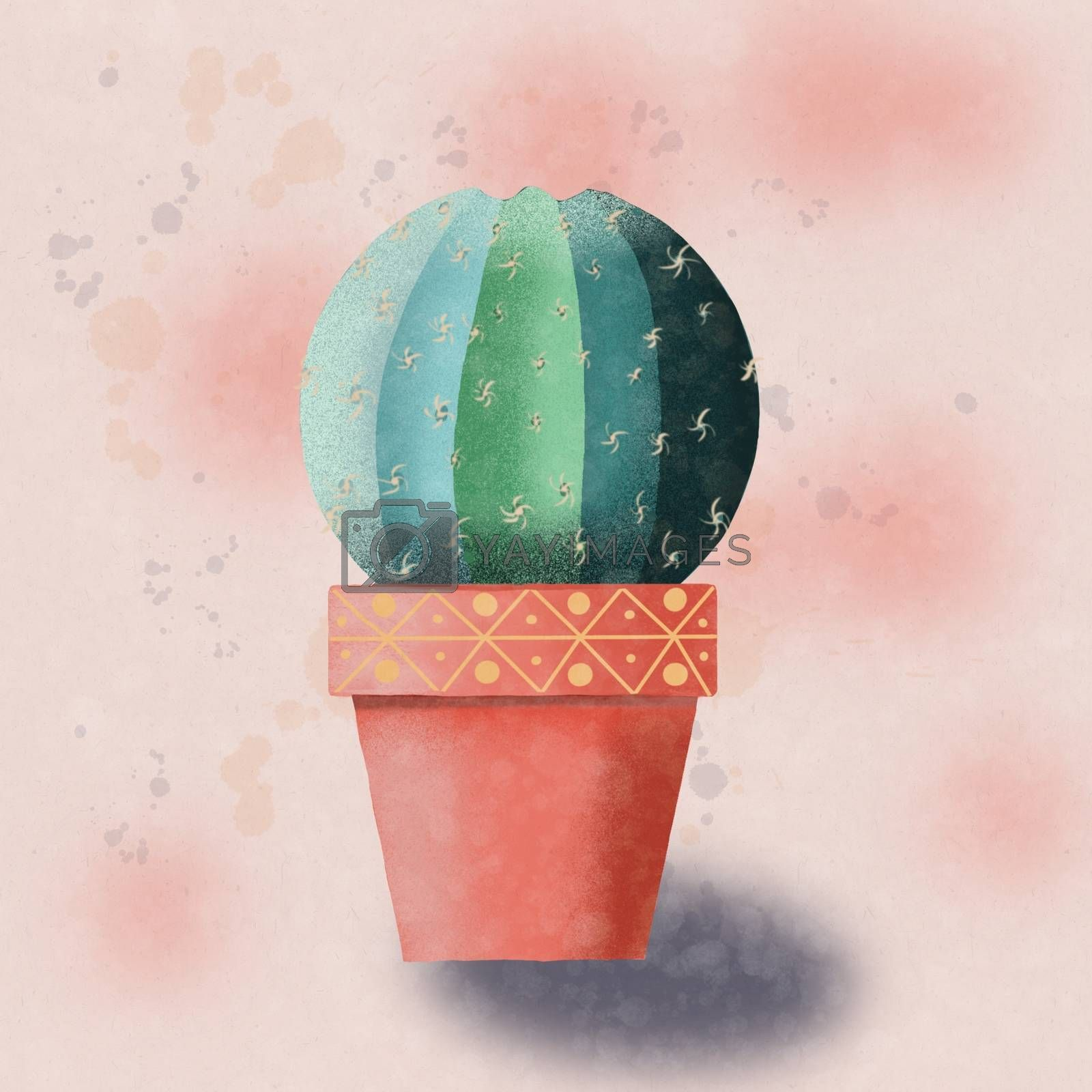Hand drawn Cactus isolated. Watercolor cacti in decorative flowerpot. Trendi exotic houseplant  illustration.