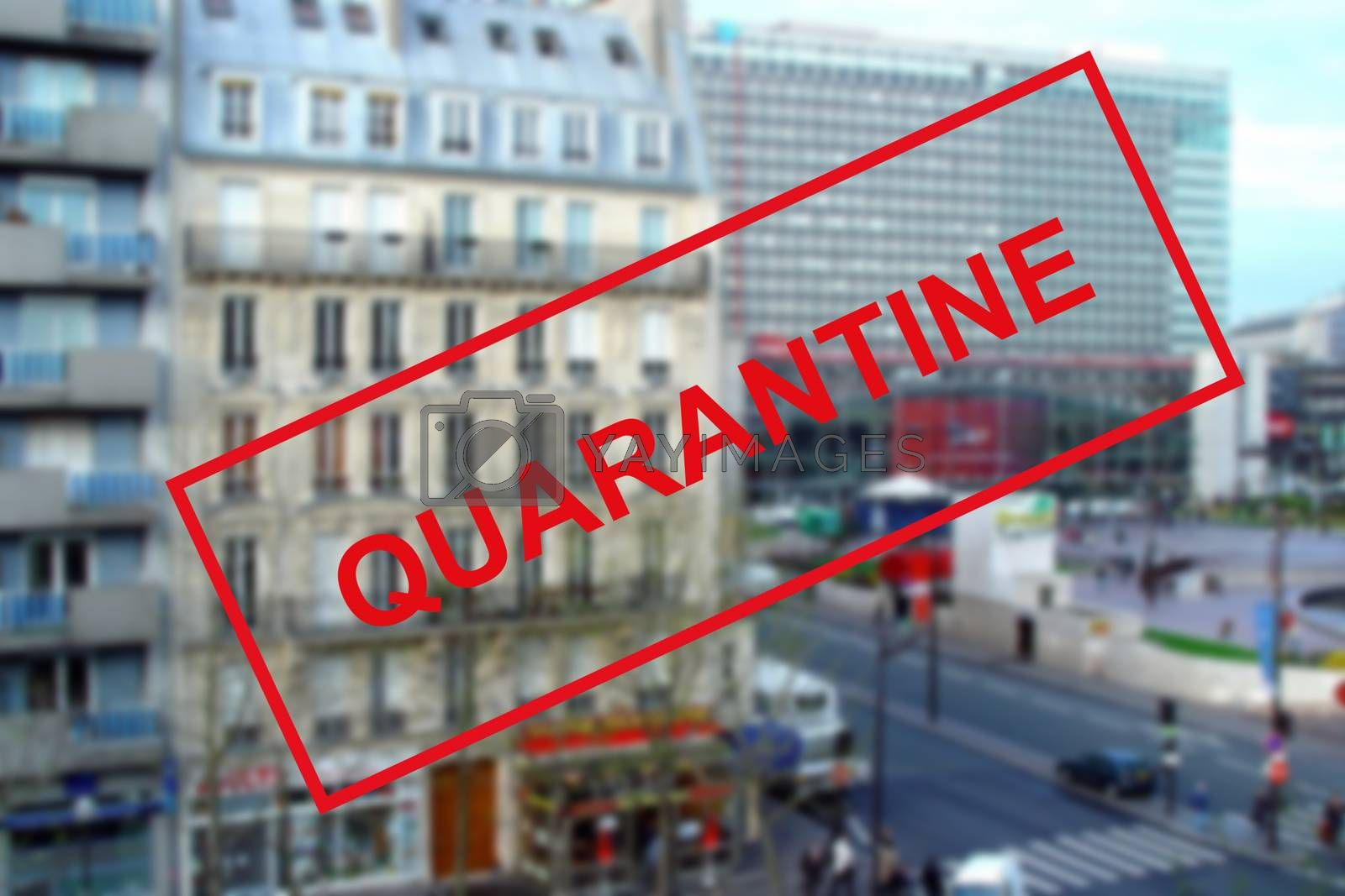 COVID-19 coronavirus in France, text quarantine on a blurry background of a train station building in Paris. The concept of covid pandemics and travel in Europe. Travel is banned due to the coronavirus pandemic around the world