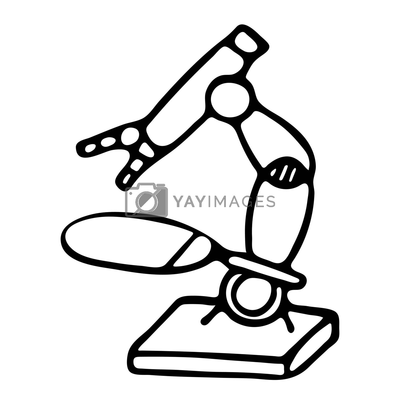 Vector hand drawn isolated lab microscope illustration. by Rina_Dozornaya