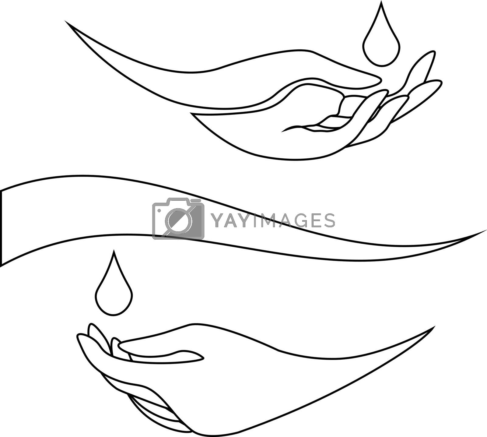 Simple monochrome line art of two hands with water drops