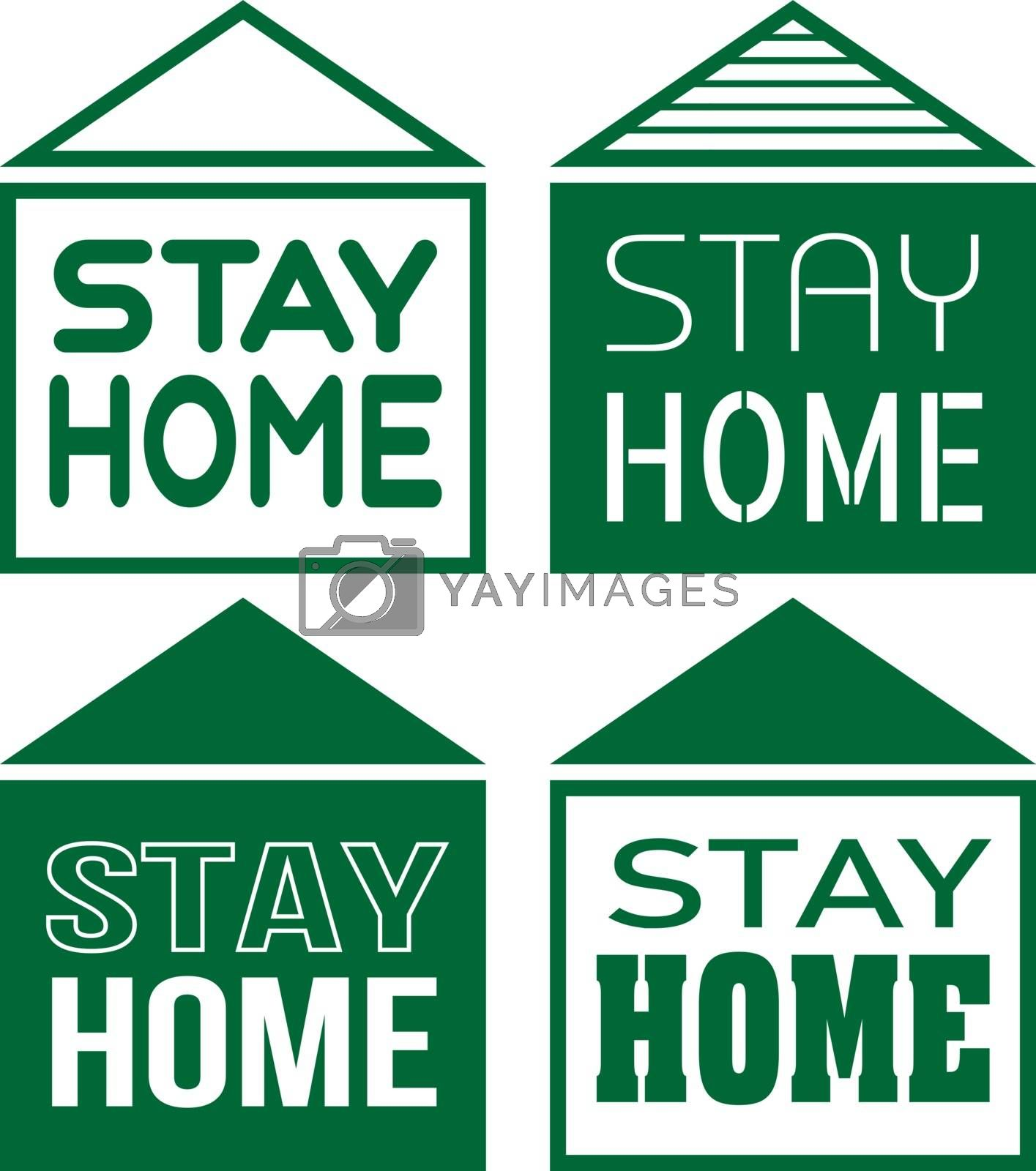 Four contour minimal simple green houses with text 'stay home'