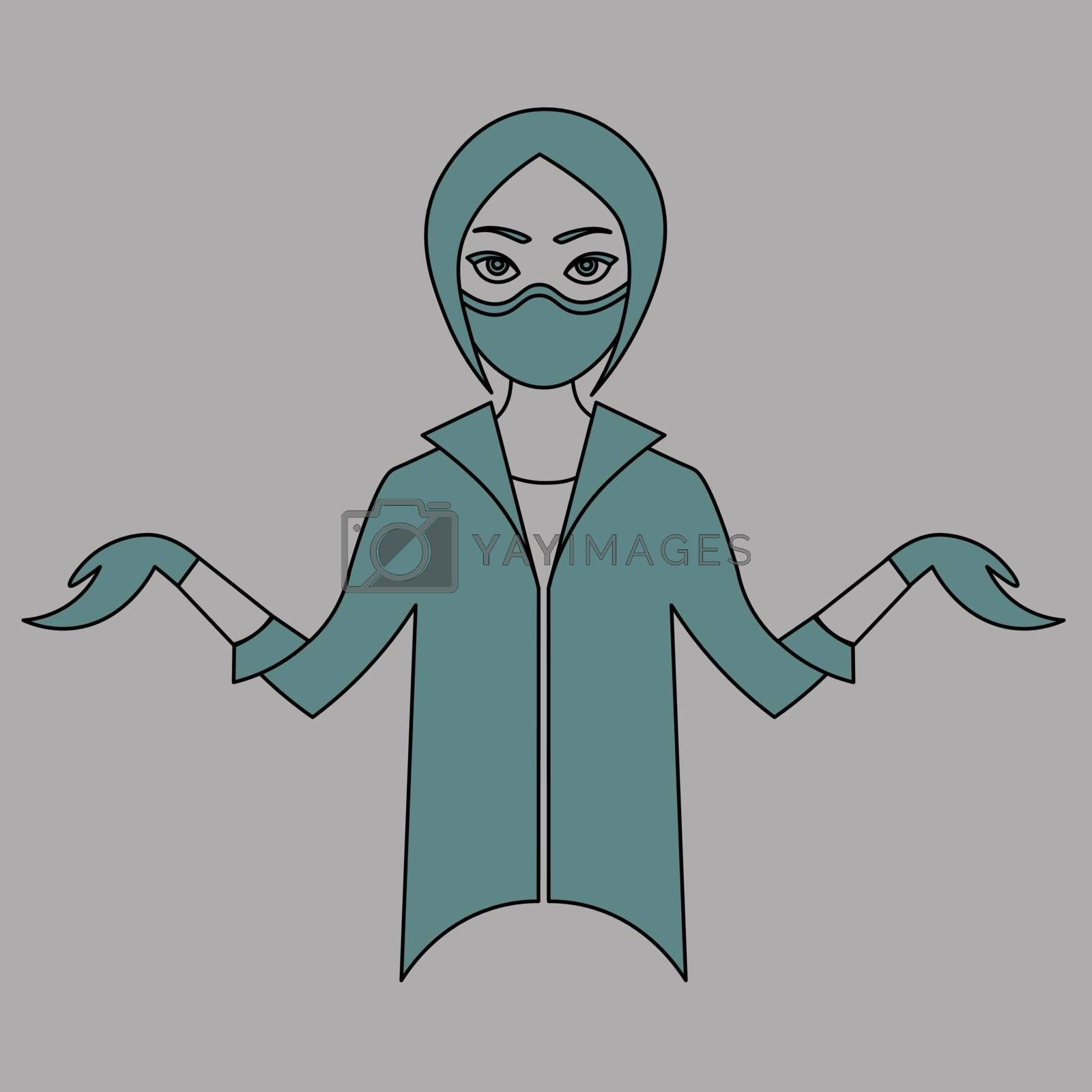 Colorful contour drawing of cartoon young female doctor in medical mask and rubber gloves shrugging shoulders
