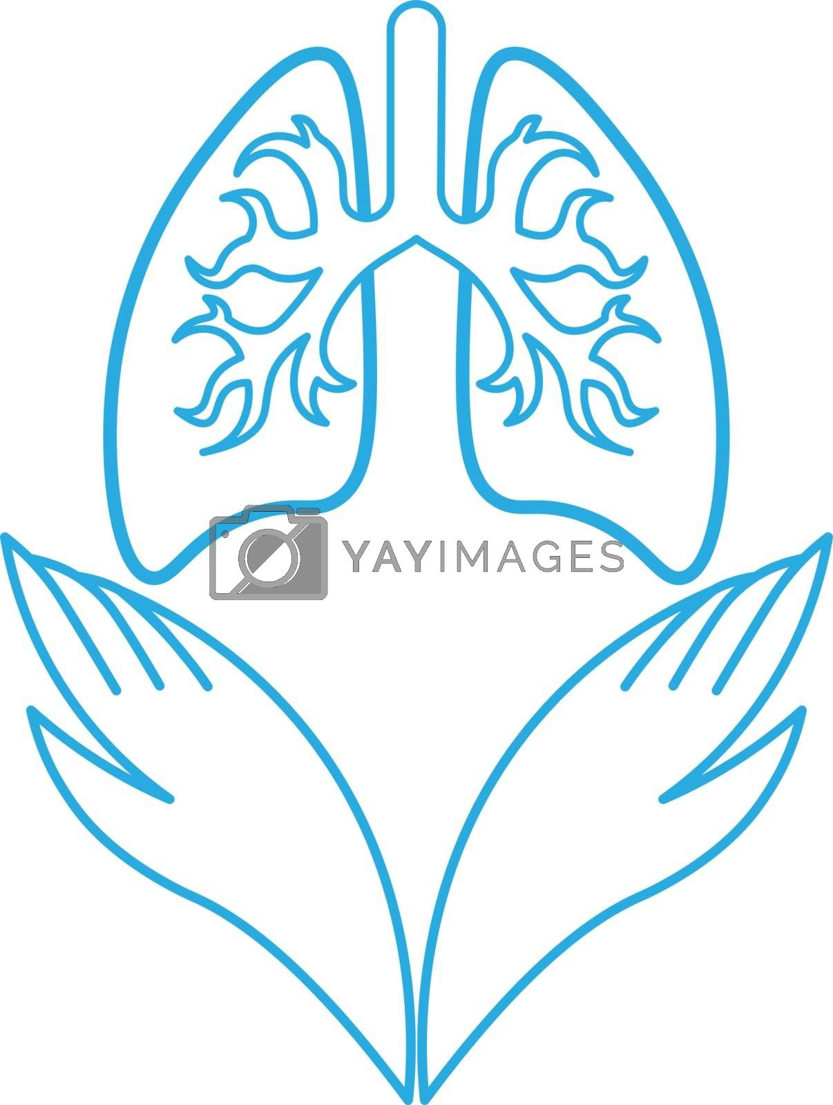 Simple blue minimal outline icon with two hands and lungs