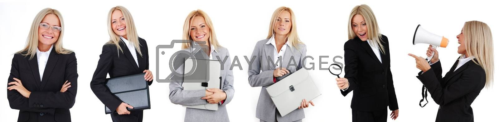 Set of photos of young business woman in various poses with case megaphone magnifier isolated on white