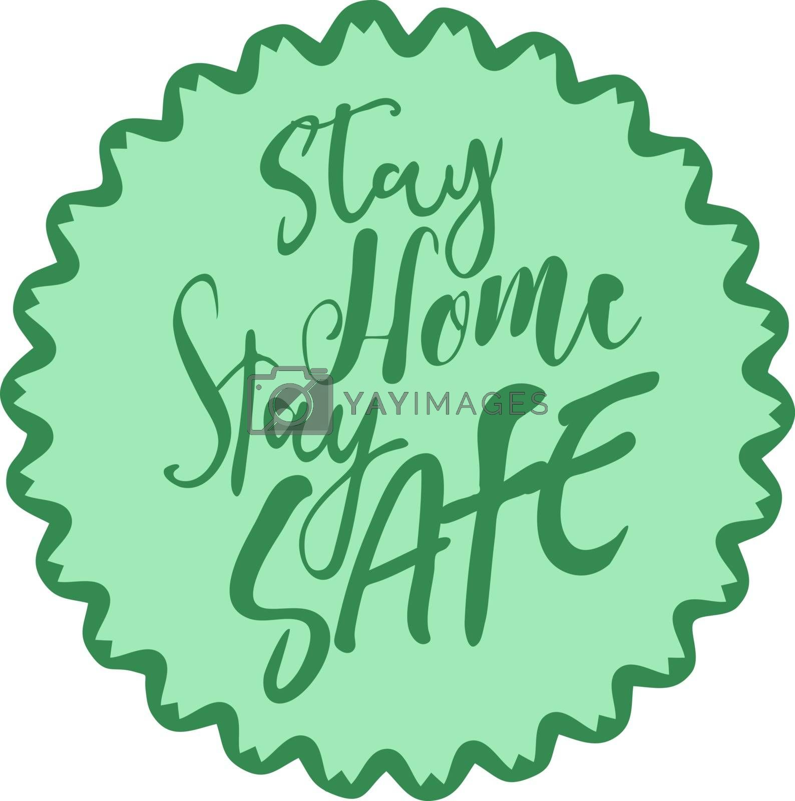 Cute lettering in green circle flower with text 'stay home stay safe'