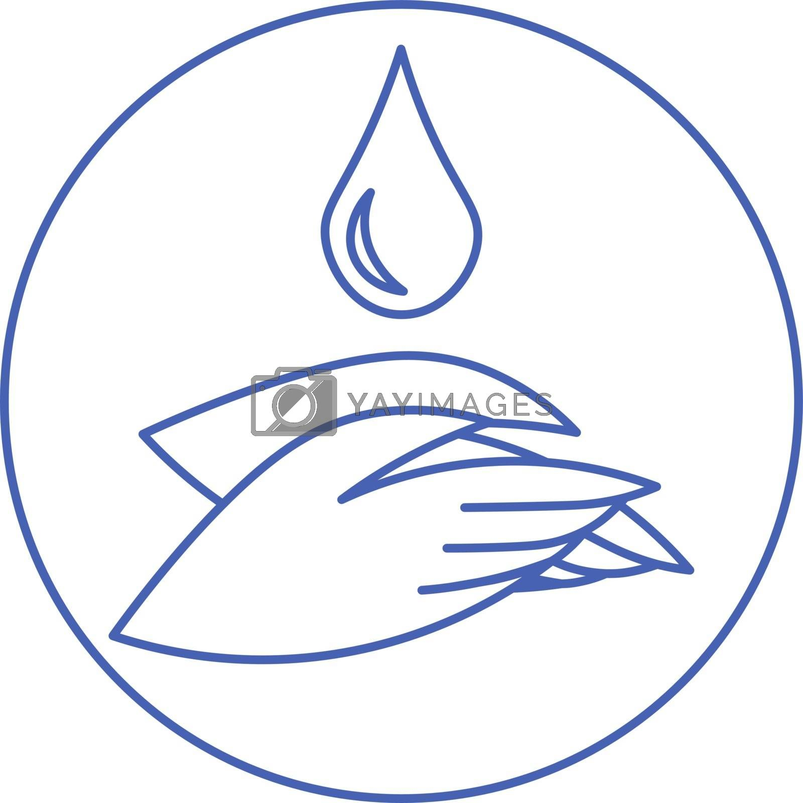 Simple blue minimal outline icon with two hands and water drop