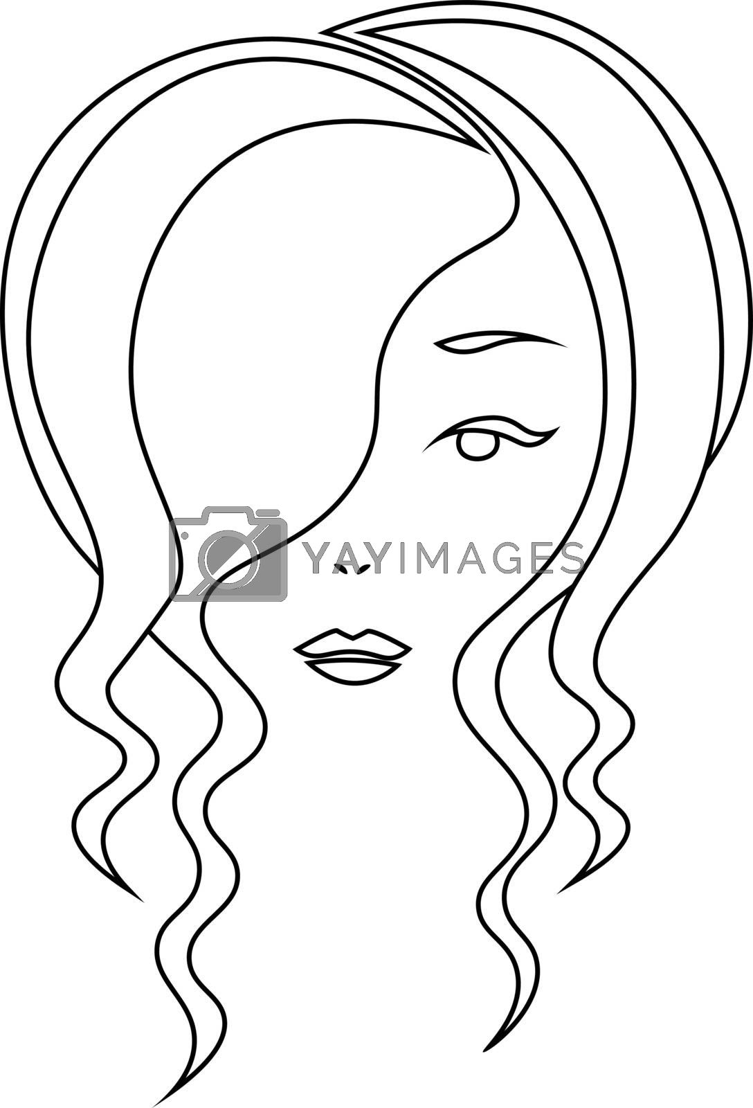 Simple contour minimal sketch face of woman with wavy hair