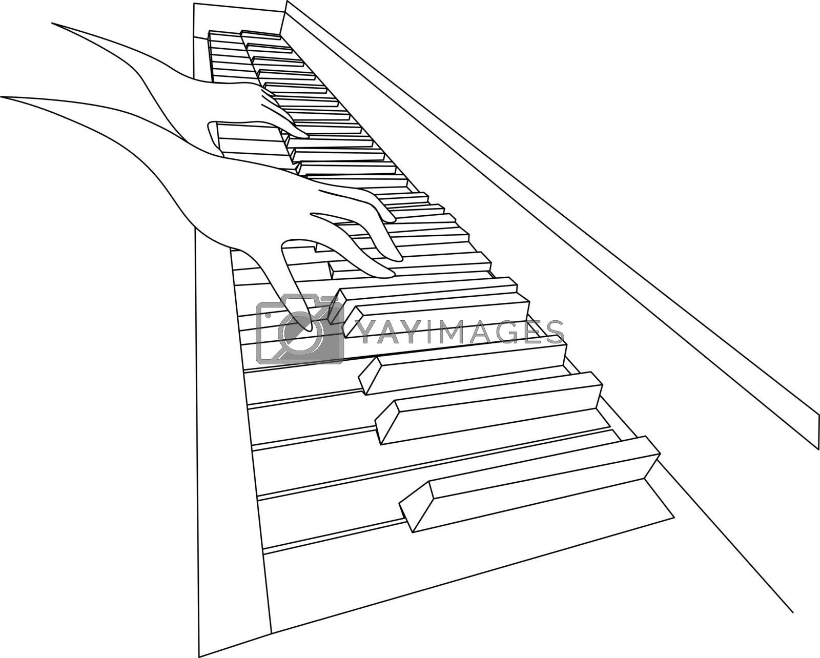 Beautiful black and white sketch with two contour hands playing on piano keyboard