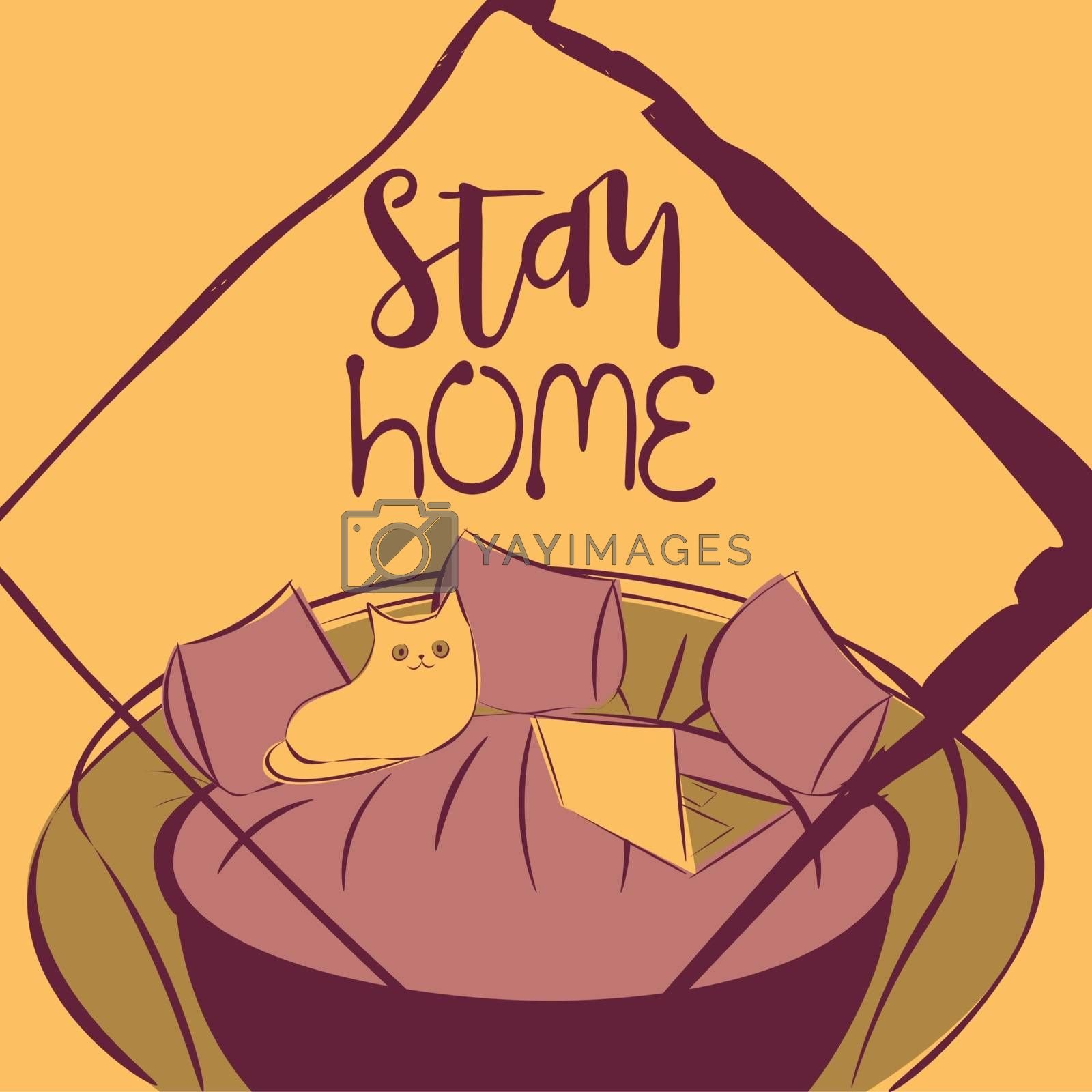Cute and cozy illustration with drawn couch, cat and notebook, text 'stay home' in purple and orange colors