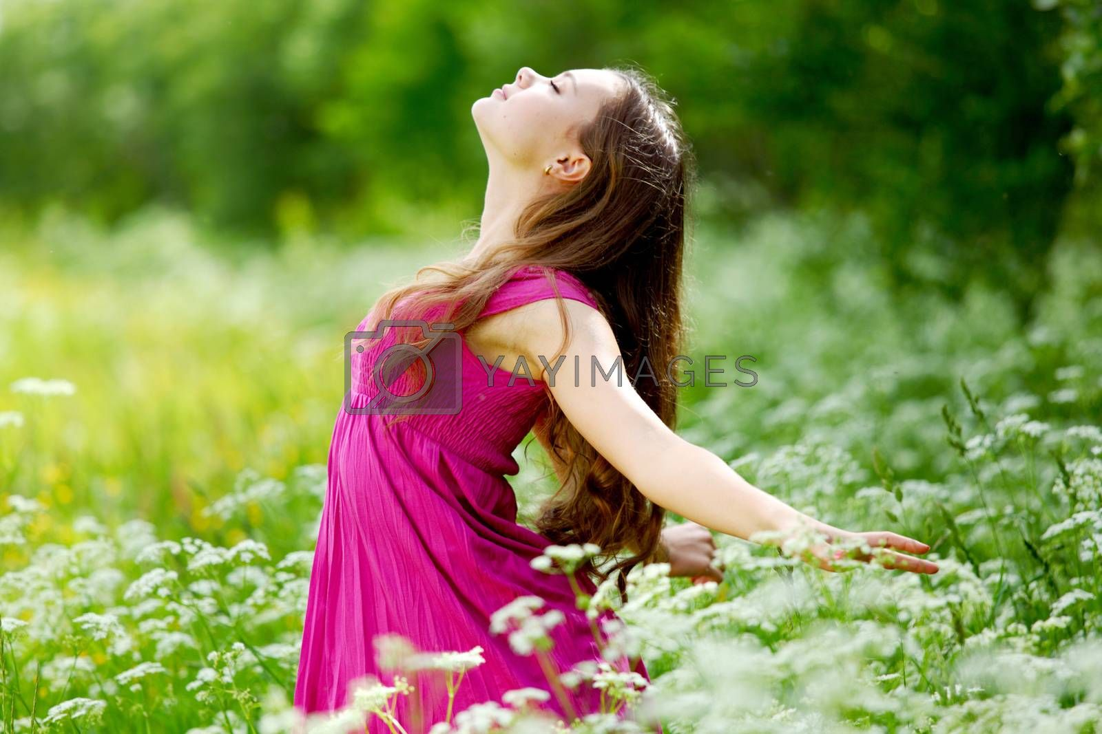 Woman outdoor feel natural freedom, summer flower meadow