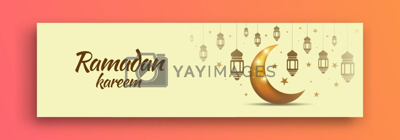 Banner for Ramadan Preparation with a Shining Moon Design, lanterns and stars