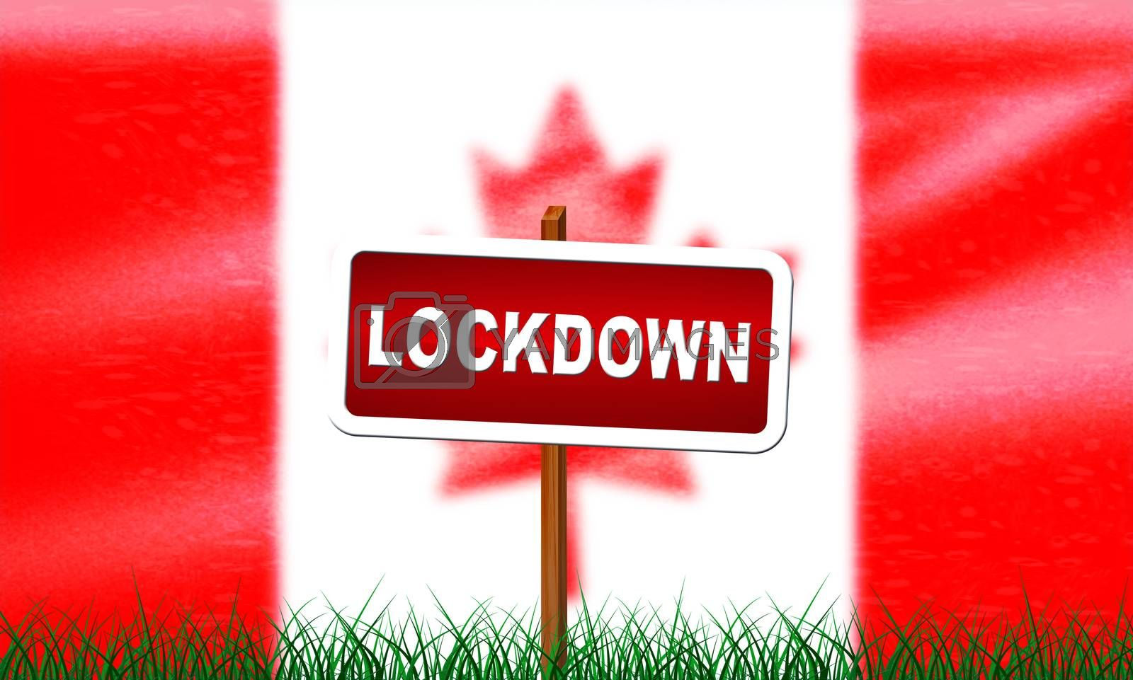 Canada lockdown preventing coronavirus spread or outbreak. Covid 19 canadian precaution to lock down virus infection - 3d Illustration