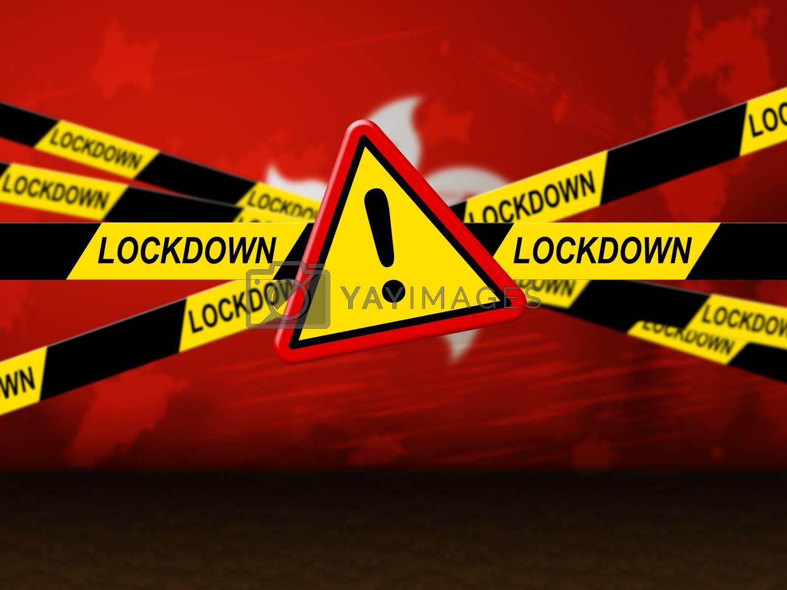 Hong Kong lockdown preventing coronavirus spread or outbreak. Covid 19 HK precaution to lock down virus infection - 3d Illustration