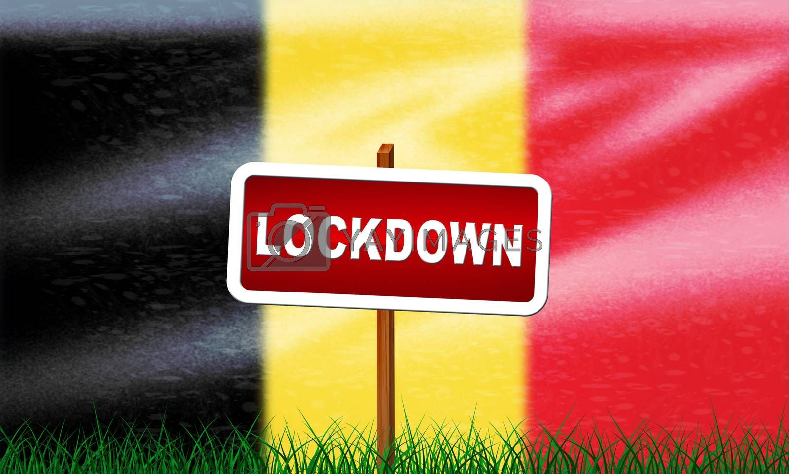 Belgium lockdown preventing coronavirus epidemic or outbreak. Covid 19 belgian precaution to lock down disease infection - 3d Illustration