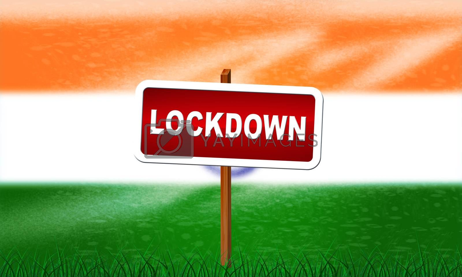 India lockdown preventing ncov epidemic or outbreak. Covid 19 Indian precaution to isolate disease infection - 3d Illustration