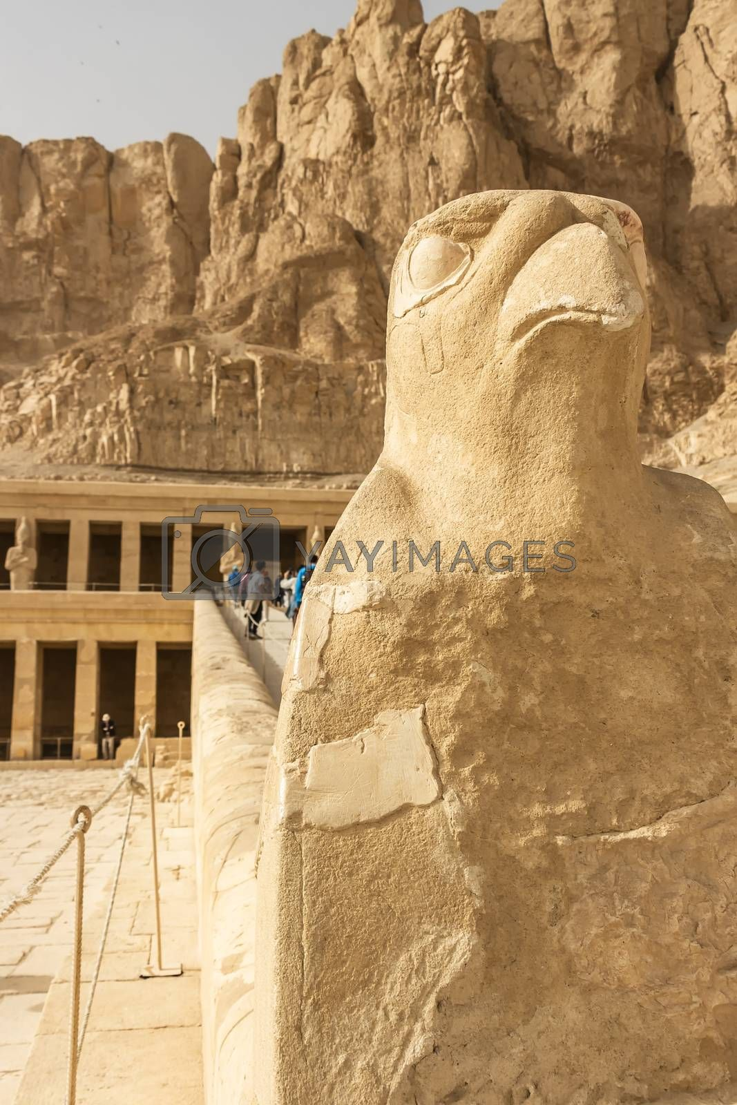Sculpture of ancient Egyptian God Horus with head of a hawk at the Temple of Hatshepsut