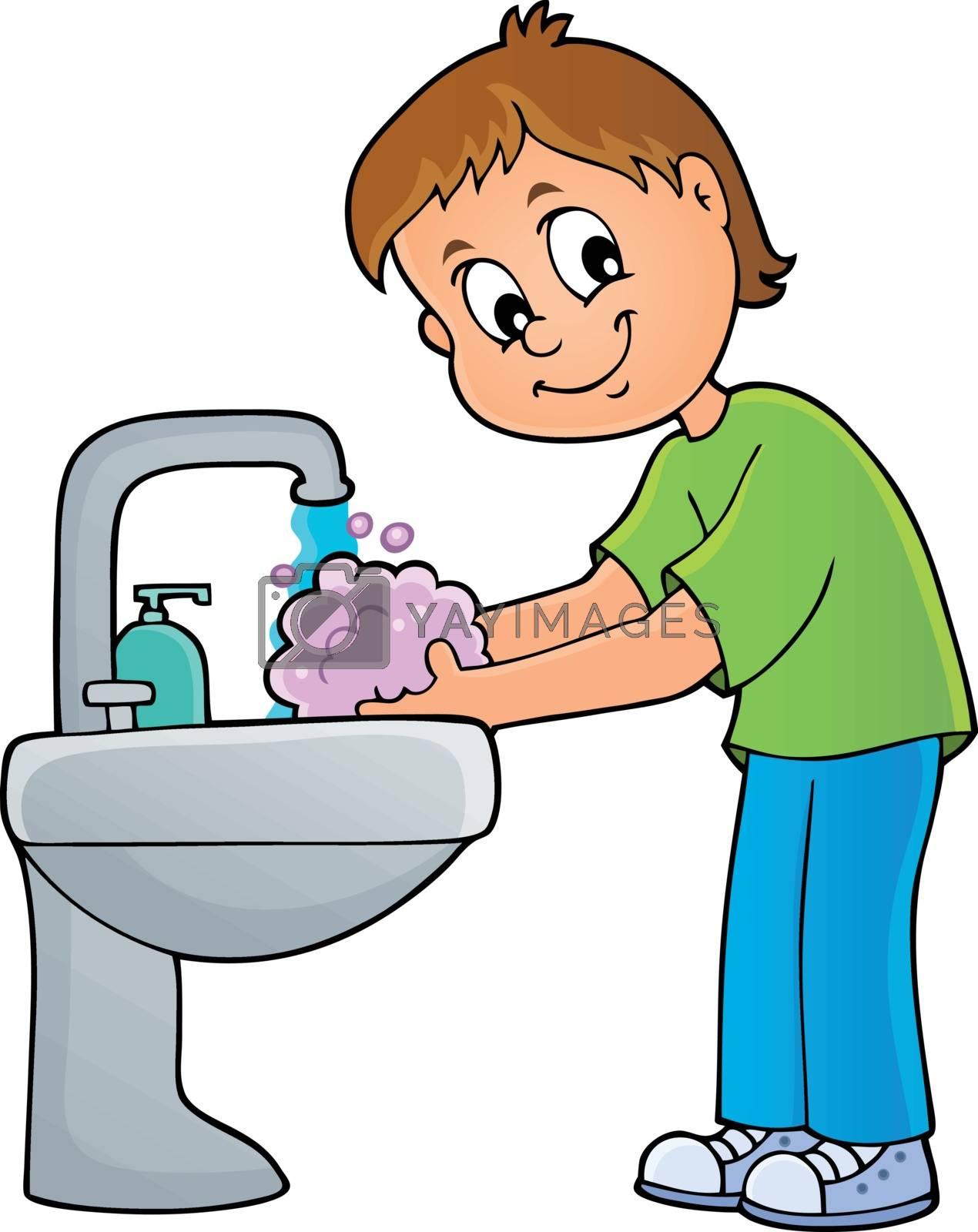 Boy washing hands theme 1 - eps10 vector illustration.